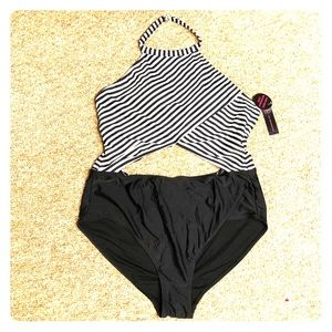 NWT black and white striped bathing suit
